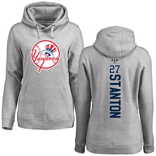 MLB Women's Nike New York Yankees #27 Giancarlo Stanton Ash Backer Pullover Hoodie