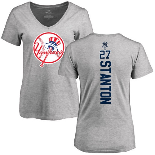 MLB Women's Nike New York Yankees #27 Giancarlo Stanton Ash Backer T-Shirt