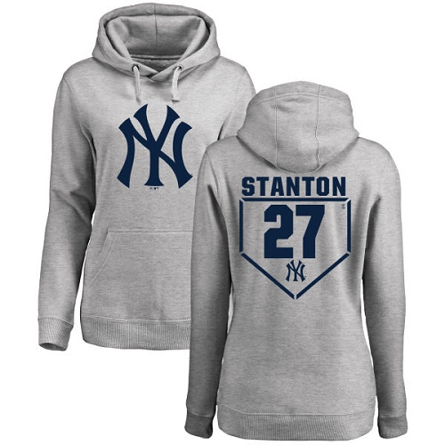MLB Women's Nike New York Yankees #27 Giancarlo Stanton Gray RBI Pullover Hoodie