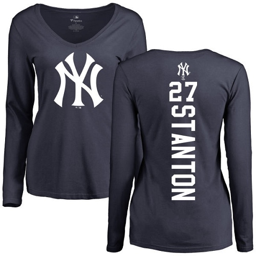 MLB Women's Nike New York Yankees #27 Giancarlo Stanton Navy Blue Backer Long Sleeve T-Shirt