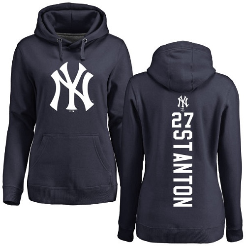 MLB Women's Nike New York Yankees #27 Giancarlo Stanton Navy Blue Backer Pullover Hoodie