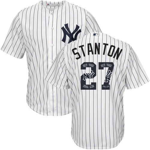 Men's Majestic New York Yankees #27 Giancarlo Stanton Authentic White Team Logo Fashion MLB Jersey