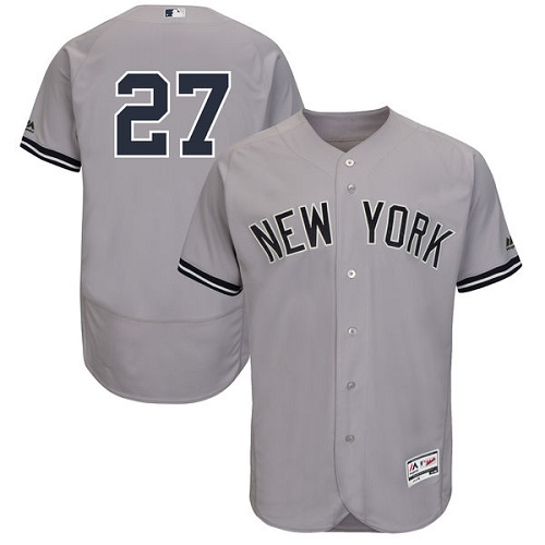 Men's Majestic New York Yankees #27 Giancarlo Stanton Grey Flexbase Authentic Collection MLB Jersey