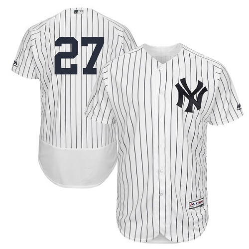 Men's Majestic New York Yankees #27 Giancarlo Stanton White/Navy Flexbase Authentic Collection MLB Jersey