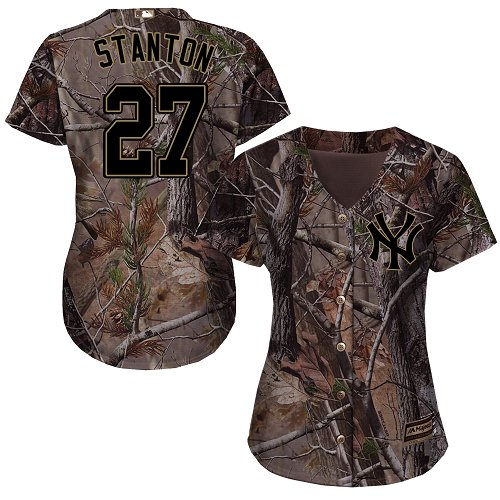 Women's Majestic New York Yankees #27 Giancarlo Stanton Authentic Camo Realtree Collection Flex Base MLB Jersey
