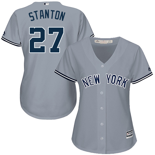 Women's Majestic New York Yankees #27 Giancarlo Stanton Authentic Grey Road MLB Jersey