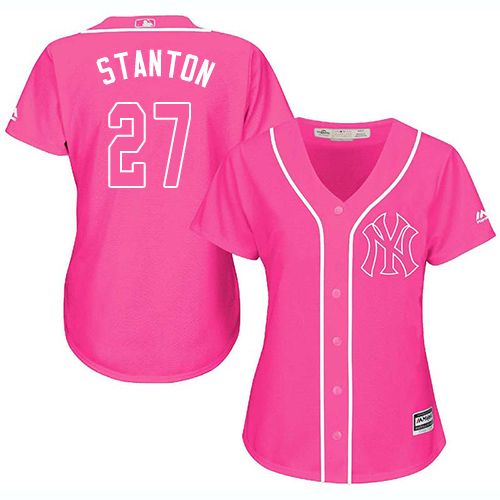 Women's Majestic New York Yankees #27 Giancarlo Stanton Authentic Pink Fashion Cool Base MLB Jersey