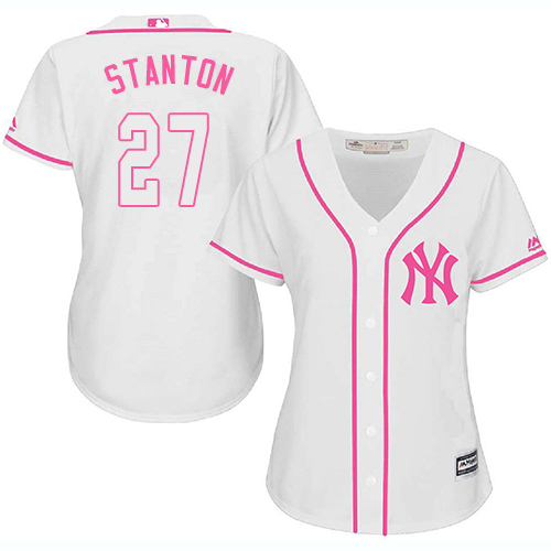 Women's Majestic New York Yankees #27 Giancarlo Stanton Authentic White Fashion Cool Base MLB Jersey