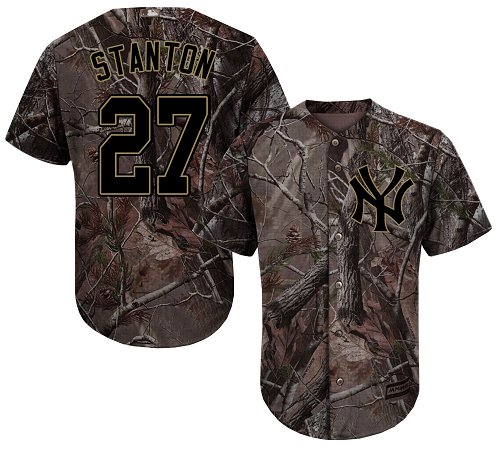 Youth Majestic New York Yankees #27 Giancarlo Stanton Authentic Camo Realtree Collection Flex Base MLB Jersey