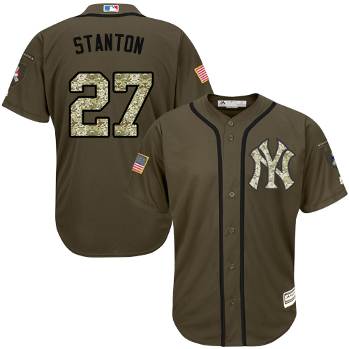 Youth Majestic New York Yankees #27 Giancarlo Stanton Authentic Green Salute to Service MLB Jersey