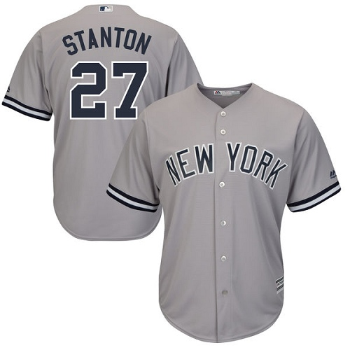 Youth Majestic New York Yankees #27 Giancarlo Stanton Authentic Grey Road MLB Jersey