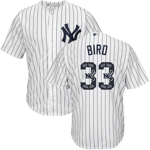 Men's Majestic New York Yankees #33 Greg Bird Authentic White Team Logo Fashion MLB Jersey