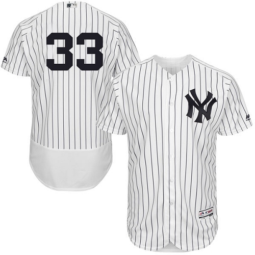 Men's Majestic New York Yankees #33 Greg Bird White Home Flex Base Authentic Collection MLB Jersey
