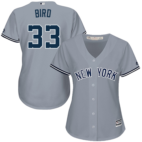 Women's Majestic New York Yankees #33 Greg Bird Authentic Grey Road MLB Jersey