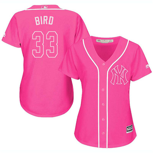 Women's Majestic New York Yankees #33 Greg Bird Authentic Pink Fashion Cool Base MLB Jersey