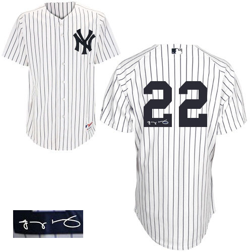 Men's Majestic New York Yankees #22 Jacoby Ellsbury Authentic White Home Autographed MLB Jersey