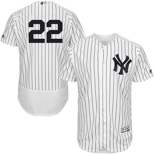 Men's Majestic New York Yankees #22 Jacoby Ellsbury White Home Flex Base Authentic Collection MLB Jersey