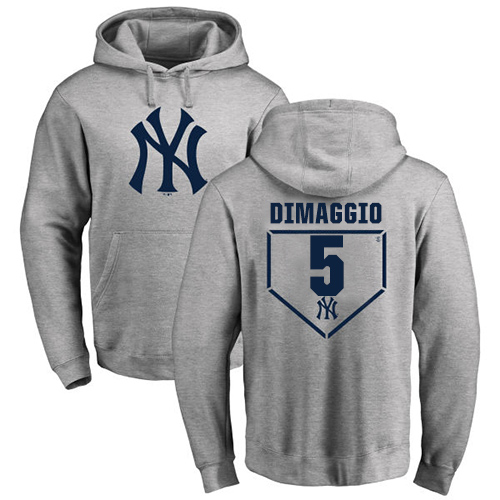 MLB Nike New York Yankees #5 Joe DiMaggio Gray RBI Pullover Hoodie