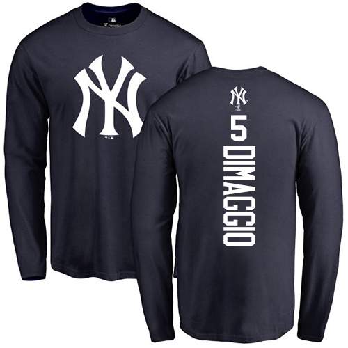 MLB Nike New York Yankees #5 Joe DiMaggio Navy Blue Backer Long Sleeve T-Shirt