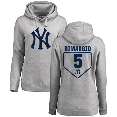 MLB Women's Nike New York Yankees #5 Joe DiMaggio Gray RBI Pullover Hoodie