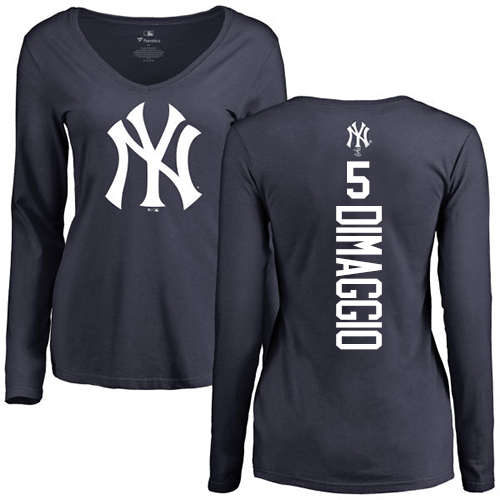 MLB Women's Nike New York Yankees #5 Joe DiMaggio Navy Blue Backer Long Sleeve T-Shirt