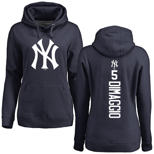 MLB Women's Nike New York Yankees #5 Joe DiMaggio Navy Blue Backer Pullover Hoodie