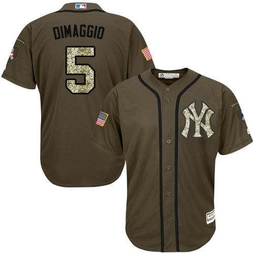 Men's Majestic New York Yankees #5 Joe DiMaggio Authentic Green Salute to Service MLB Jersey