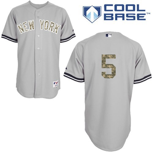 Men's Majestic New York Yankees #5 Joe DiMaggio Authentic Grey USMC Cool Base MLB Jersey