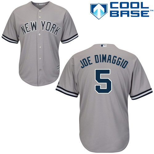 Men's Majestic New York Yankees #5 Joe DiMaggio Replica Grey Road MLB Jersey