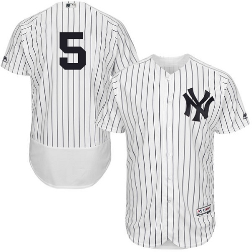 Men's Majestic New York Yankees #5 Joe DiMaggio White Home Flex Base Authentic Collection MLB Jersey