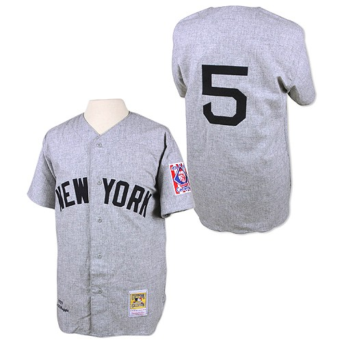 Men's Mitchell and Ness 1939 New York Yankees #5 Joe DiMaggio Replica Grey Throwback MLB Jersey