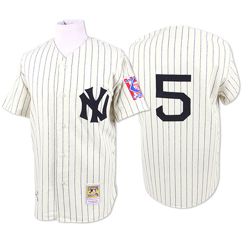 Men's Mitchell and Ness 1939 New York Yankees #5 Joe DiMaggio Replica White Throwback MLB Jersey