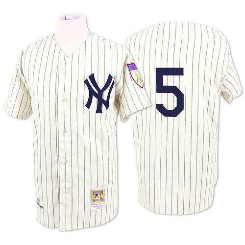Men's Mitchell and Ness New York Yankees #5 Joe DiMaggio Replica White Throwback MLB Jersey
