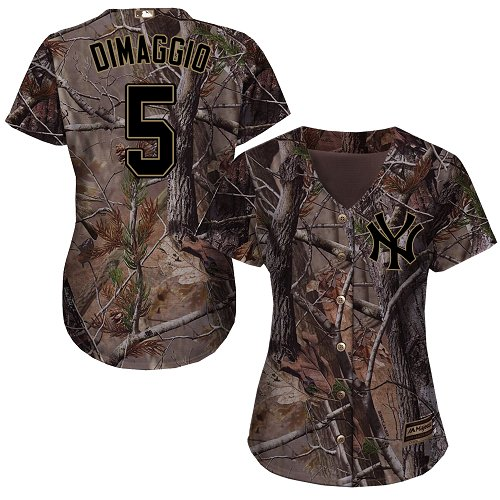 Women's Majestic New York Yankees #5 Joe DiMaggio Authentic Camo Realtree Collection Flex Base MLB Jersey
