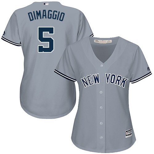Women's Majestic New York Yankees #5 Joe DiMaggio Authentic Grey Road MLB Jersey