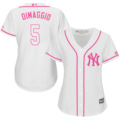 Women's Majestic New York Yankees #5 Joe DiMaggio Authentic White Fashion Cool Base MLB Jersey