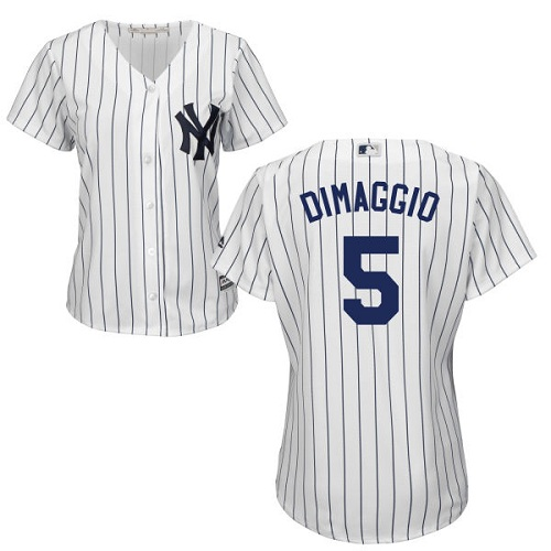 Women's Majestic New York Yankees #5 Joe DiMaggio Authentic White Home MLB Jersey