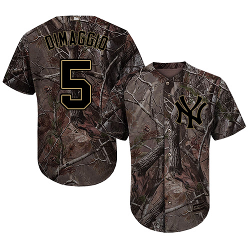Youth Majestic New York Yankees #5 Joe DiMaggio Authentic Camo Realtree Collection Flex Base MLB Jersey