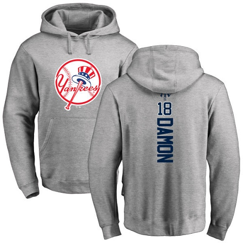 MLB Nike New York Yankees #18 Johnny Damon Ash Backer Pullover Hoodie