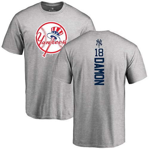MLB Nike New York Yankees #18 Johnny Damon Ash Backer T-Shirt