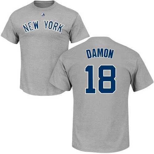 MLB Nike New York Yankees #18 Johnny Damon Gray Name & Number T-Shirt