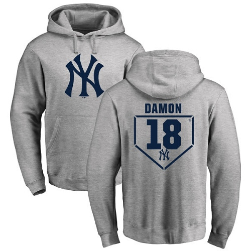 MLB Nike New York Yankees #18 Johnny Damon Gray RBI Pullover Hoodie