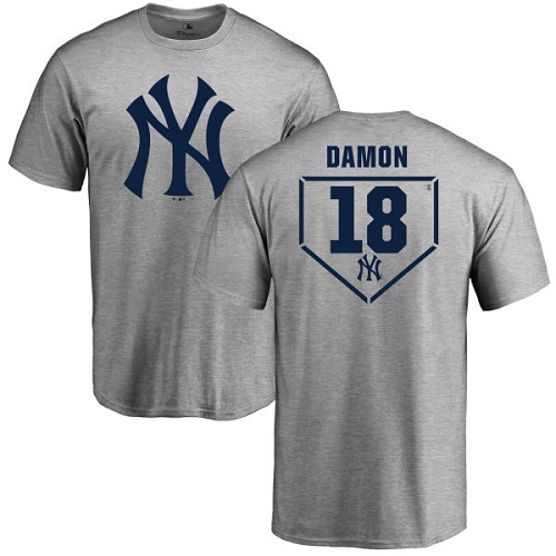 MLB Nike New York Yankees #18 Johnny Damon Gray RBI T-Shirt