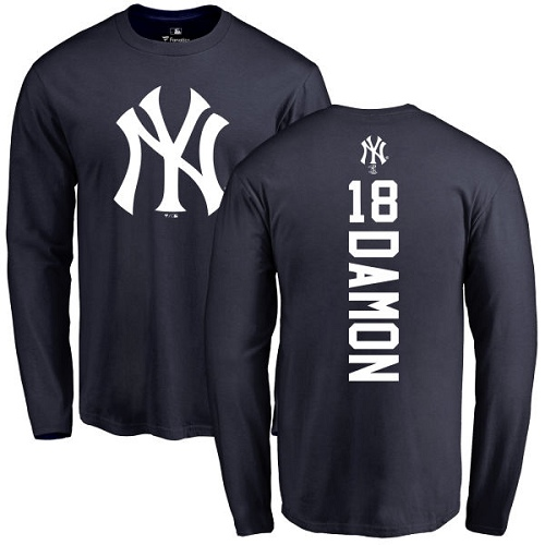 MLB Nike New York Yankees #18 Johnny Damon Navy Blue Backer Long Sleeve T-Shirt