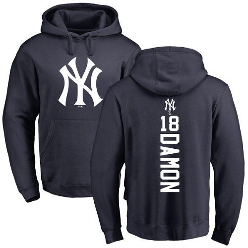 MLB Nike New York Yankees #18 Johnny Damon Navy Blue Backer Pullover Hoodie