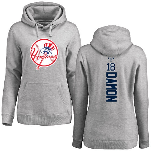 MLB Women's Nike New York Yankees #18 Johnny Damon Ash Backer Pullover Hoodie