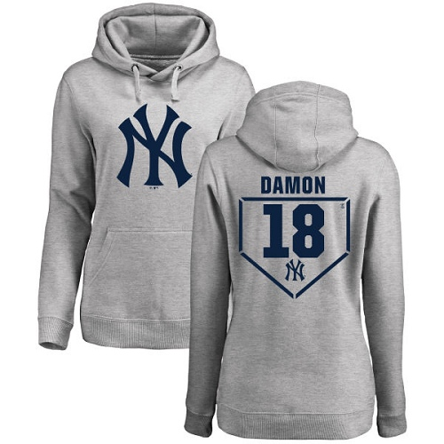 MLB Women's Nike New York Yankees #18 Johnny Damon Gray RBI Pullover Hoodie