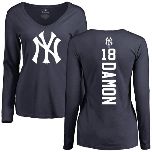 MLB Women's Nike New York Yankees #18 Johnny Damon Navy Blue Backer Long Sleeve T-Shirt