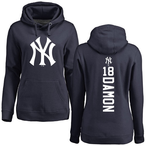 MLB Women's Nike New York Yankees #18 Johnny Damon Navy Blue Backer Pullover Hoodie
