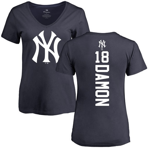 MLB Women's Nike New York Yankees #18 Johnny Damon Navy Blue Backer T-Shirt